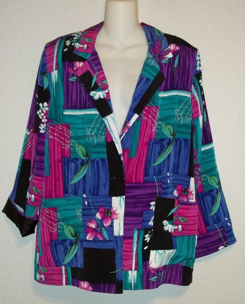 Willow Ridge  PM 8P 10P Purples Pink Teal Geometric Single Button Silky Blazer