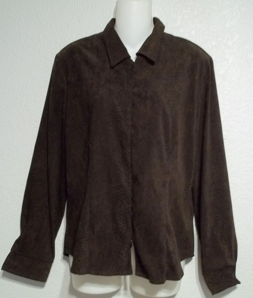 Espresso Brown & Black Snake Print Double Zipper Suede Feel Jacket Large 12 14