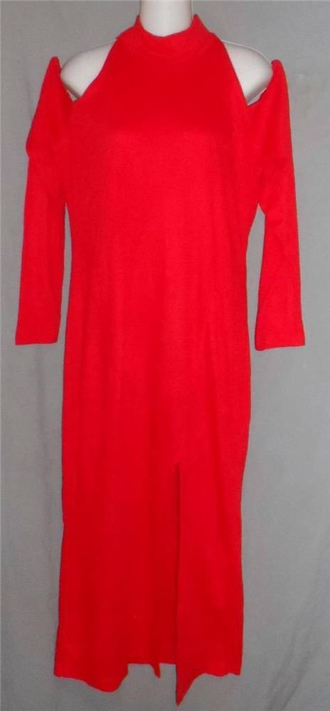 California Gold Rush Large 12 14 Red Open Shoulder Sexy Mock Turtle LS Dress