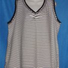 JMS Just My Size 2X 18W 20W White Black Stripe Cotton Blend T-shirt Tank Top