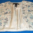 New 14 16  1X  & 18 20  2X Venezia Embroidered Beige Lined Short Vest Bolero