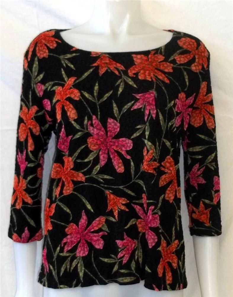French Laundry Medium 8 10 Black Floral Design 3/4 Sleeve Textured Blouse Top