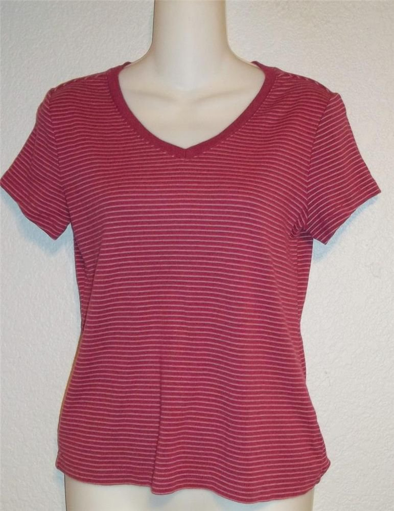 French Laundry Sport Small 4 6 Raspberry Maroon Pink Striped V Neck Blouse Top