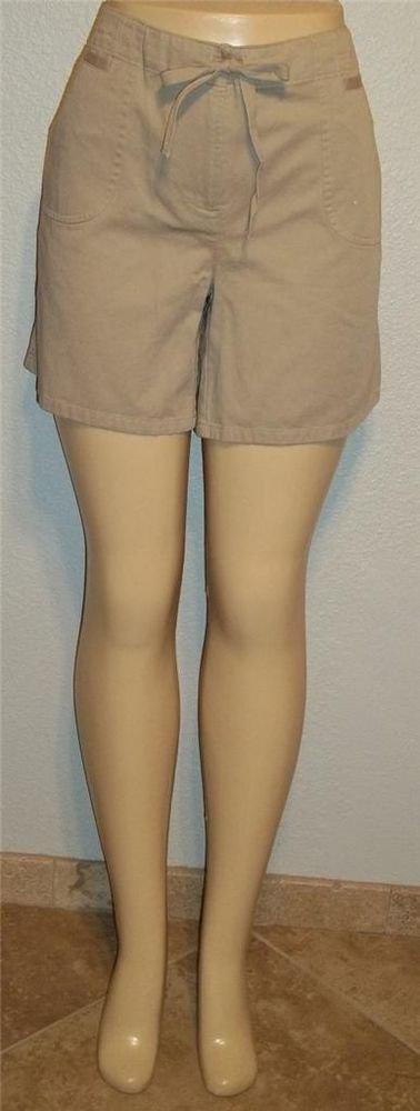 New liz & co. 12 Large Khaki Tan Walking Golf Shorts Tie Waist 100% Cotton