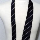 "NEW  53"" Navy Blue White True Red Diagonal Striped Men's Necktie Made in England"