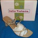 "NEW Jolie Victoria Shoes 8.5 8-1/2 M B Beige Buckle Slingback 3"" Heel Sandal"