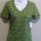 NEW liz claiborne Petite Lime Green Graphic V Neck Stretchy T Shirt PP 0P