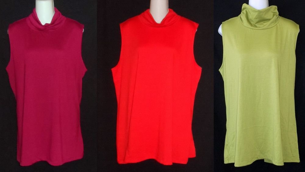 NEW 2X 3X Allison Brittney Woman Burgundy or Red or Apple  Sleeveless Cowel Top