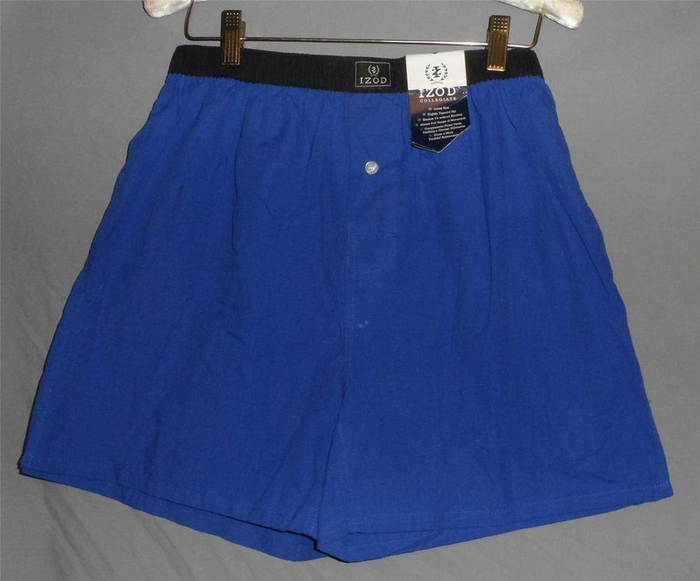 New Small S 26 30  IZOD Collegiate Royal Blue Elastic Waist Mens Boxer Shorts
