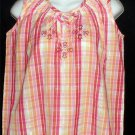NEW Company One PM Petite Medium 8P 10P Sleeveless Top Pinks Red Yellow Plaid