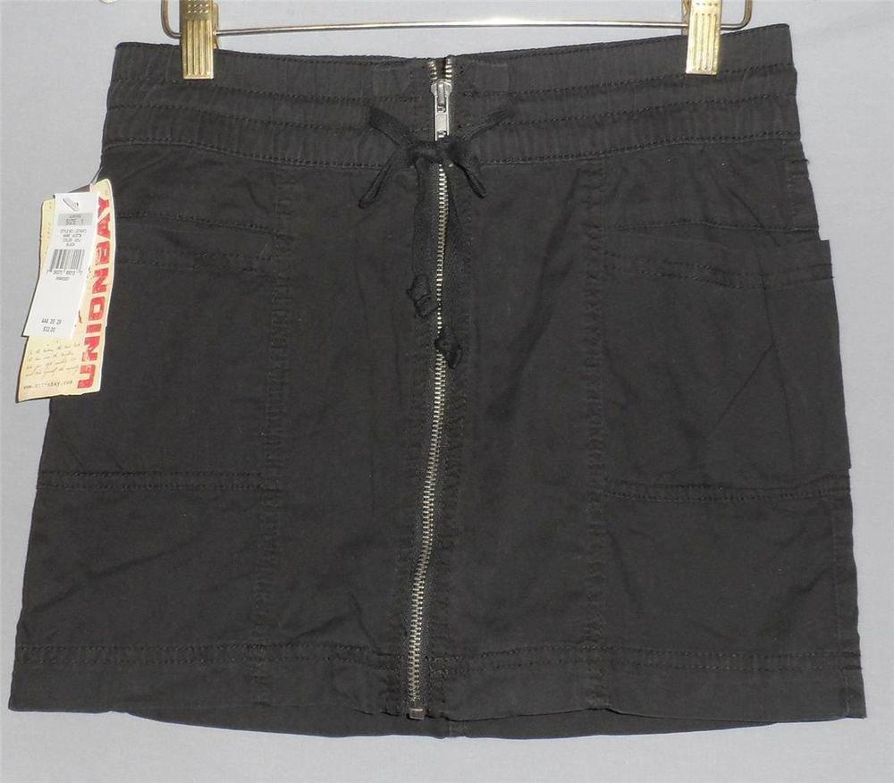 NEW Union Bay Junior 1 Black Zipper Elastic Tie Front Mini Skirt