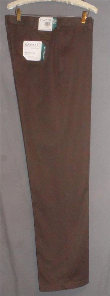 NEW Savane 34 W x 34 L Brown Flat Relaxed Fit Pants