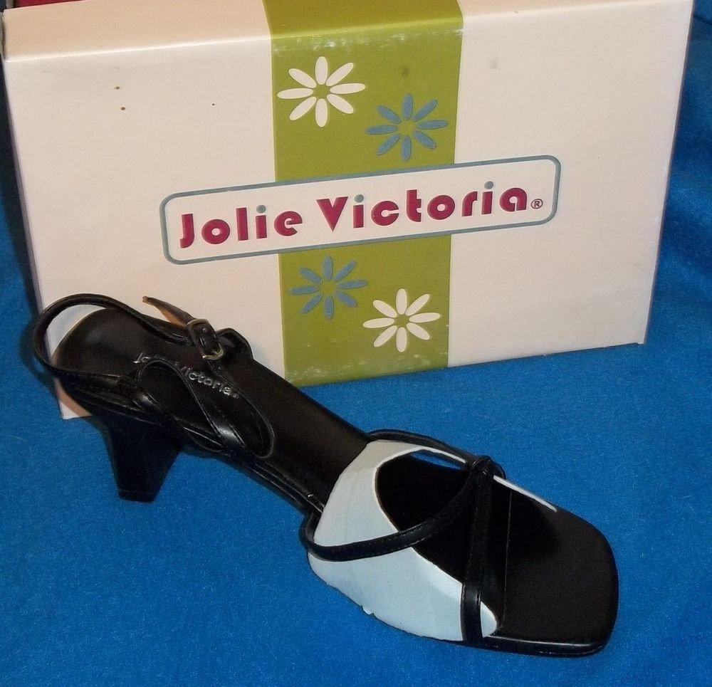 "NEW Jolie Victoria Shoes 6.5 8 8.5  Medium Width Strappy Black Buckle 3"" Heels"