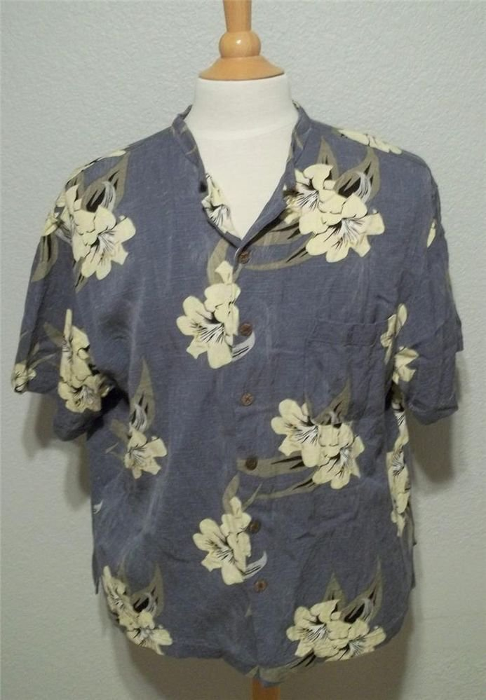 "Caribbean Joe XL Extra Large 48"" Blue Ivory Rayon Short Sleeve Men's Camp Shirt"