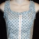 NEW Disco Moda Junior Small 3 5 SEXY! Light Blue Flower Ruffles Short Tank Top
