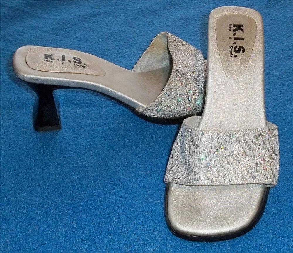 K. I. S. Keep It Simple  5 Medium B Silver Metallic Open Toe Open Low Heel Mules
