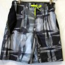 NEW Nike Mens Small Black Gray Neon Yellow Drawstring Waist Swim Trunks Shorts