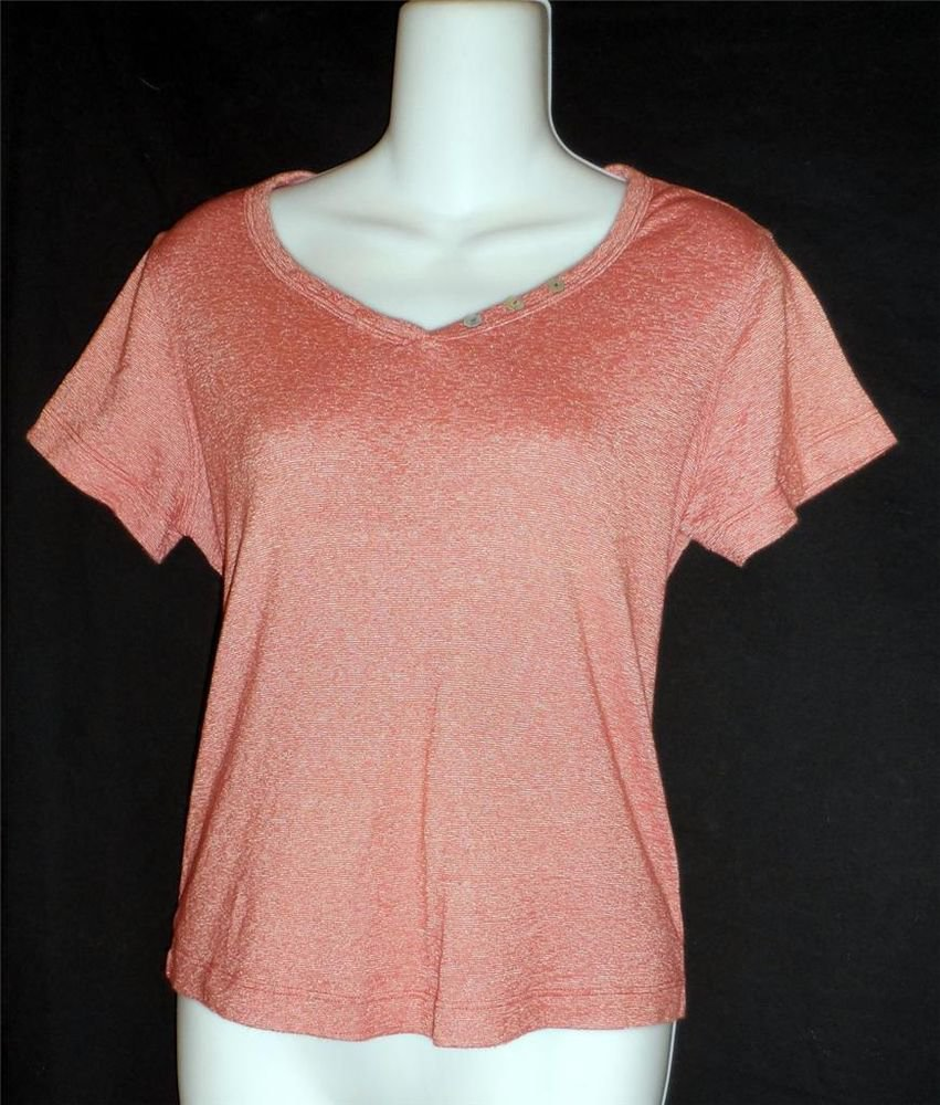 S Small 4 6 T's by Hot Cotton Short Sleeve Top V-Neck Brick Red White Stretchy