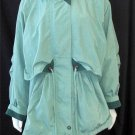 Fleet Street Large 12 14 Green Windbreaker Long Jacket Zipper Drawstring Waist