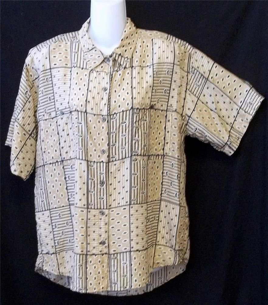 Whistles Large 12 14 Tan Beige 100% Silk Collared SS Button Front Shirt Blouse