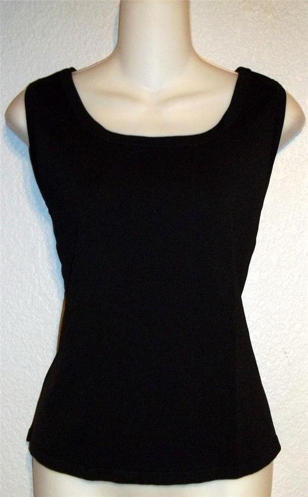 Erin London Medium 8 10 Black Scoop neck Stretchy Sleeveless Blouse Tank Top