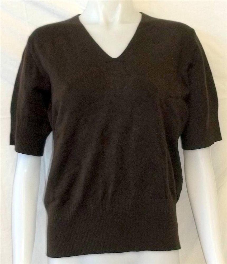 XL 16 18 Extra Large Van Heusen Women Dark Brown Half-Sleeve V-Neck Sweater
