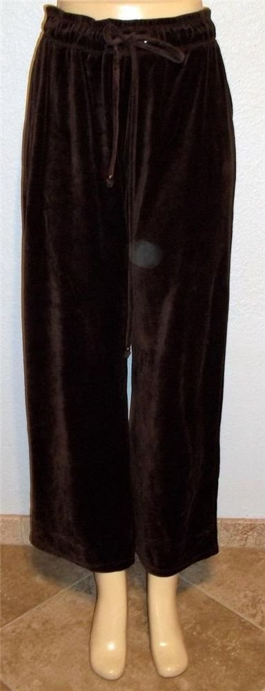 Westbound  Large 12 14 Cocoa Brown Velvety Drawstring Exercise  Casual Pants