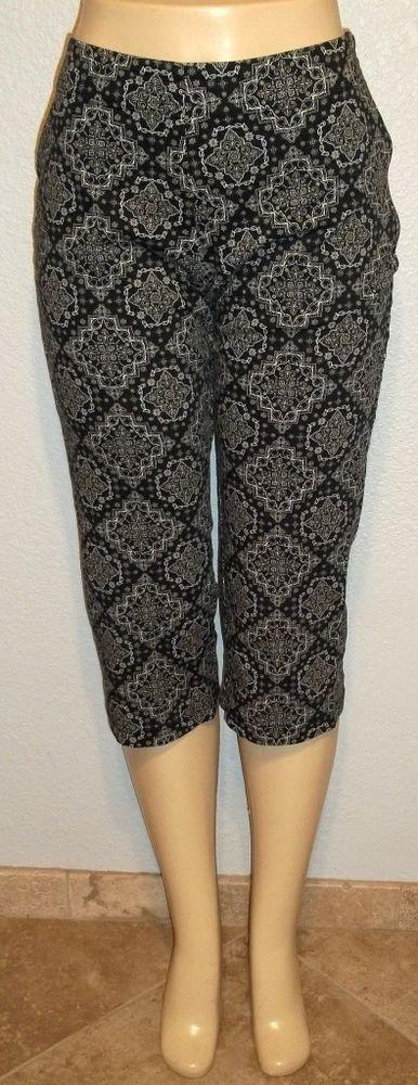 BW Sport 10P Petite Medium PM Black White Paisley Cotton Capri Cropped Pants