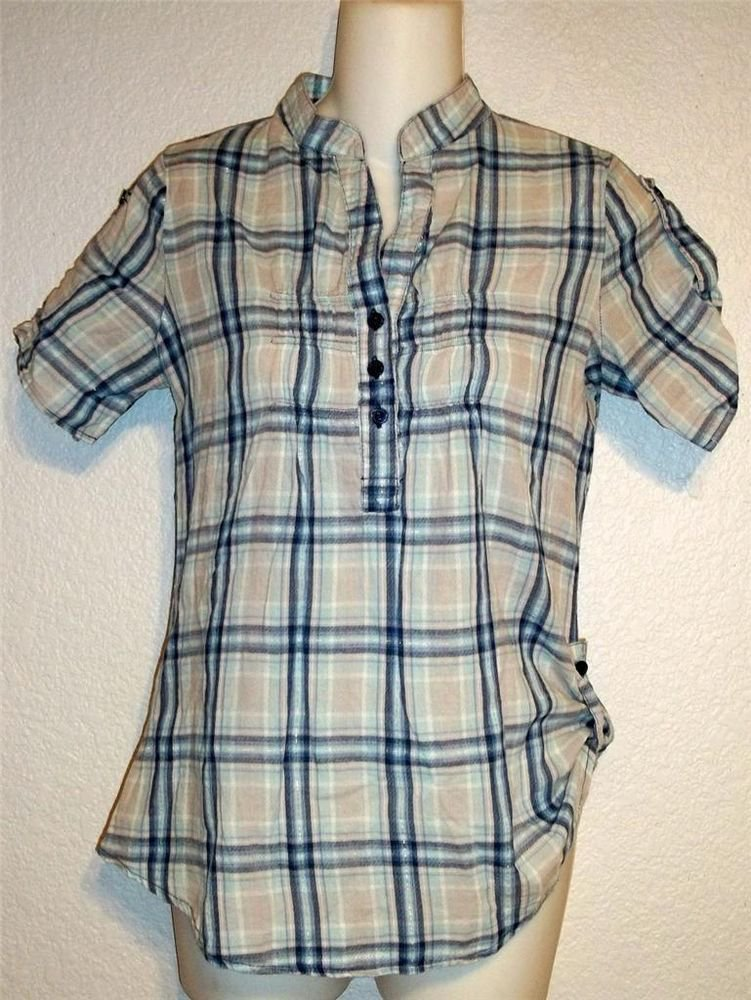 Rue 21 Junior Medium 7 9 Navy White Silver Plaid V Neck Ruched Cuffed Blouse Top