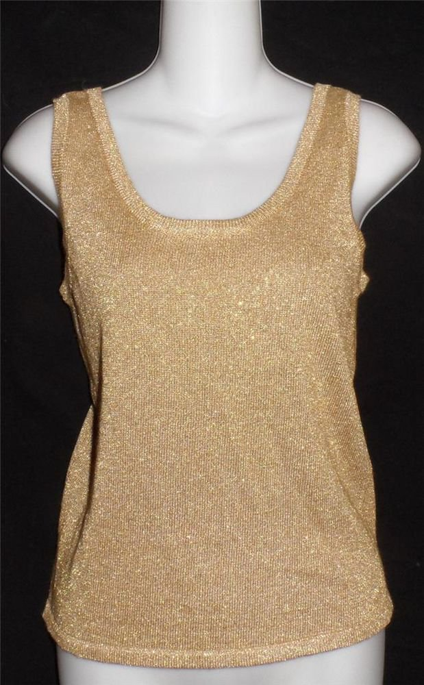 Petite Sophisticate P Gold Metallic Stretch Sleeveless Dressy Party Top