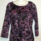 White Stag Small 4 6 Purple Paisley Print Sheer Stretch Long Sleeve Top Blouse