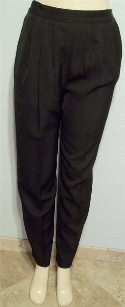 Small 4 6 Kensington Square Black Pleated Normal Waist Career Dress Pants