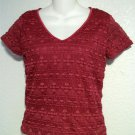 Small 4 6 Worthington Burgundy Floral V Neck Lined Embroider Stretchy Blouse Top