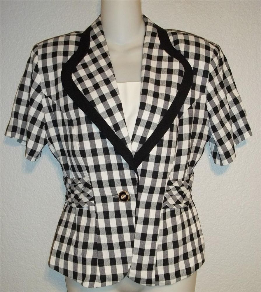 Casual Corner & Co Junior 5 6 Small Black White Check Short Sleeve Blouse Top