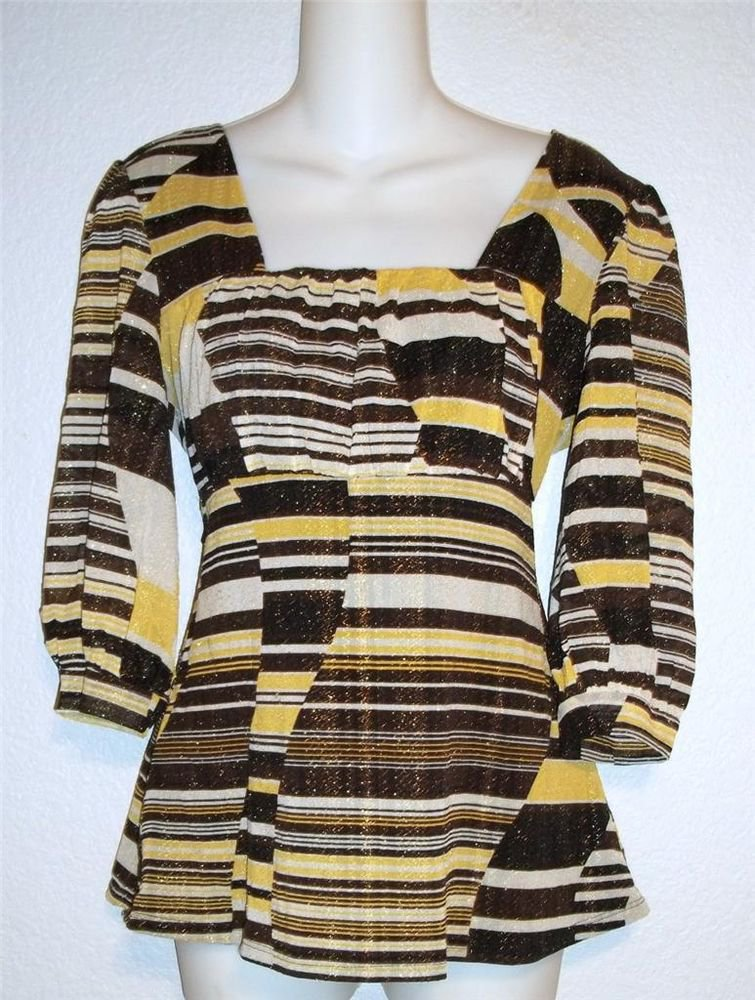 Medium 8 10 Style & Co Yellow Brown Gold Metallic 3/4 Sleeve Empire Blouse Top