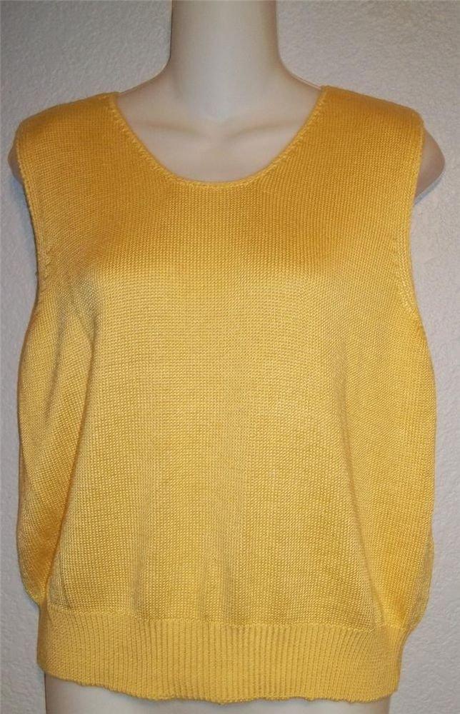 Large 12 14 Fia Italia Handloomed Bright Yellow Sleeveless Stretchy Knit Top
