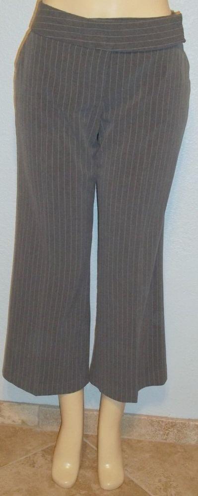 My Michelle Junior 13 Large Gray White Pinstripe Career Dress Pants