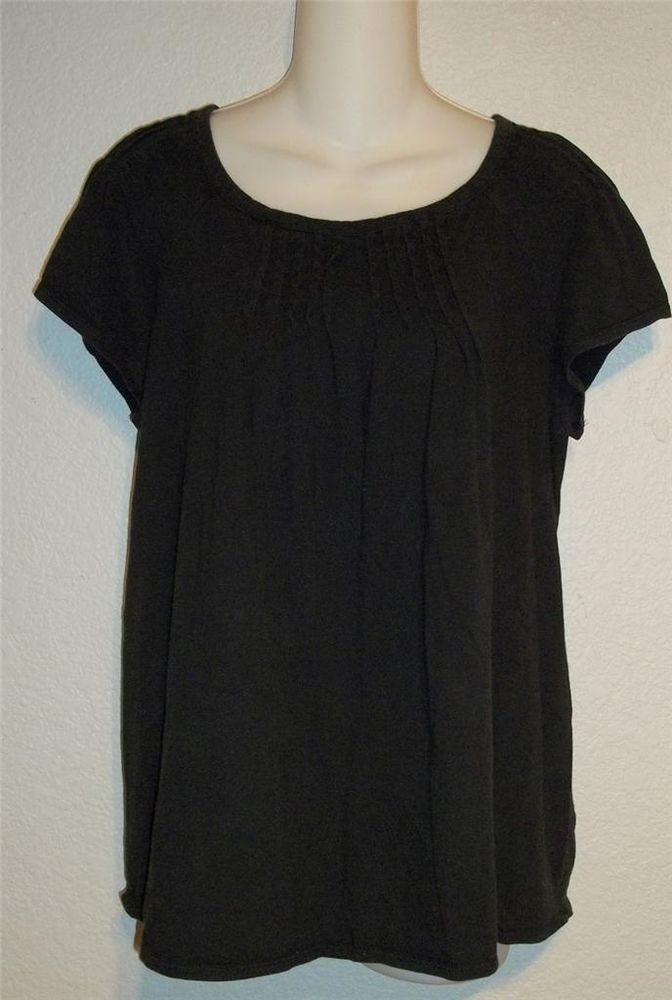 Liz Lange Maternity  M 8 10 Black Pin Tuck Cotton Blend Short Sleeve Blouse Top