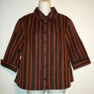 NEW Haggar Petite PM 8P 10P Dark Olive Red Taupe Striped 3/4 Sleeve Blouse Top