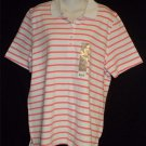 NEW White Stag  20 XXL 2X White Coral Pink Stripe SS Polo Golf Shirt Knit Top
