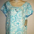 NEW Allyson Whitmore Small 4 6 Teal White Floral Scoopneck Peasant Blouse Top