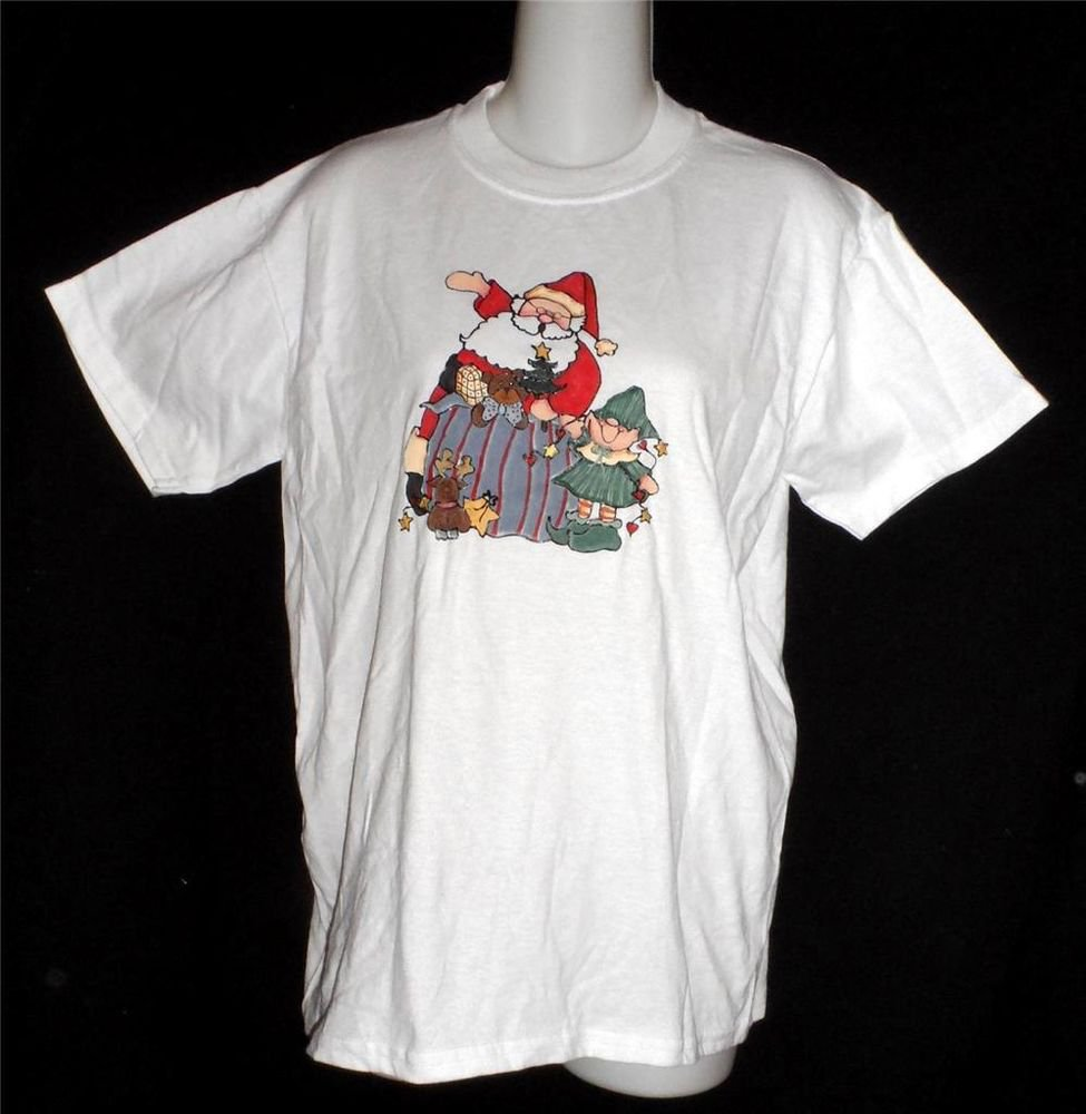 Christmas Santa Elf Small 4 6 Jerzees White Crew Short Sleeve T-Shirt