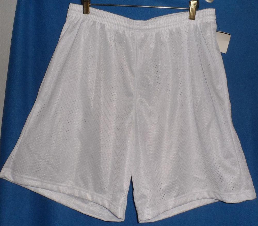 NEW A4 White XL Extra Larg Elastic Drawstring Waist Mesh Men's Basketball Shorts