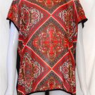 Passport Love 2X 18W 20W Sheer Red White Gold Front Black Back Cap Sleeve Blouse