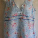 NEW Old Navy Maternity Large 12 14 Light Blue Flowers V Neck Pullover Top Blouse