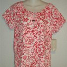 NEW Allyson Whitmore Medium 8 10 Cherry Red Floral Scoopneck Peasant Blouse Top