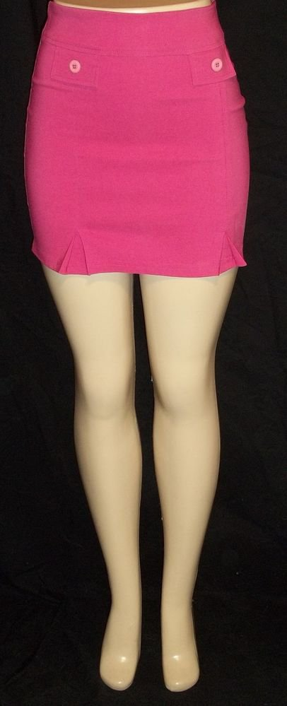 NEW Fashion Ave Junior Small 3 5 Hot Pink Stretchy Pencil Mini Skirt