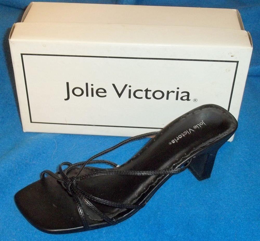 "NEW  7 B Medium Jolie Victoria Flirt Black Patent Slide-in Strappy 3"" Heels"