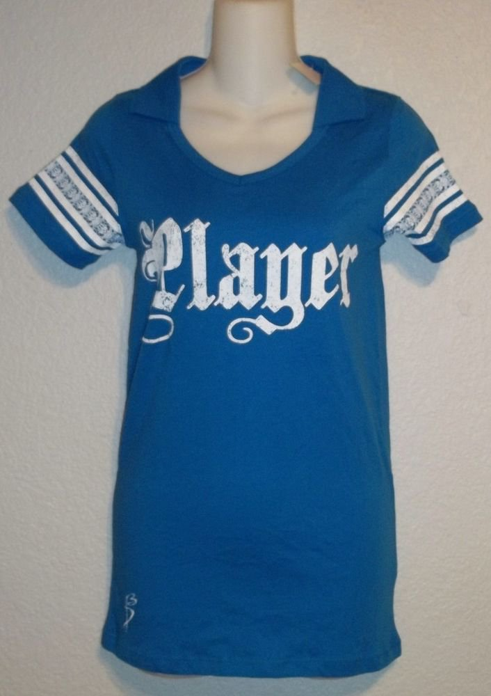 NEW Donna Bonn 100% Organic Cotton Small 4 6  Bright Blue V Neck Golf Top Shirt