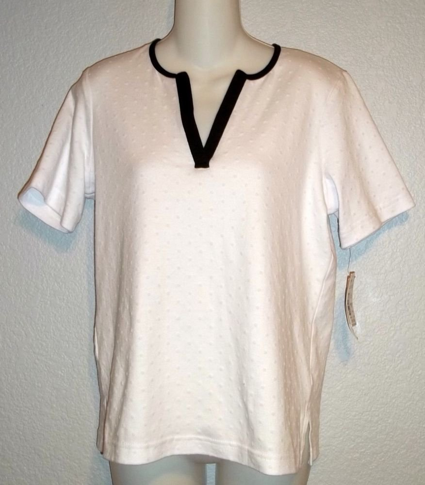 NEW Cathy Daniels Small 4 6 Vee Neck White Dotted Swiss Black Trim SS Blouse